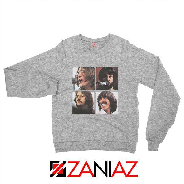 The Beatles Face Sweatshirt Rock Band Music Sweatshirt Size S-2XL Sport Grey