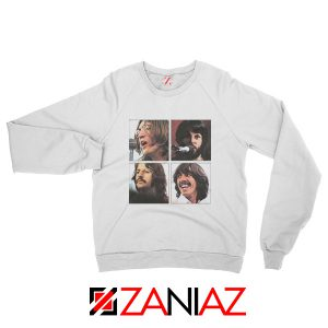 The Beatles Face Sweatshirt Rock Band Music Sweatshirt Size S-2XL White
