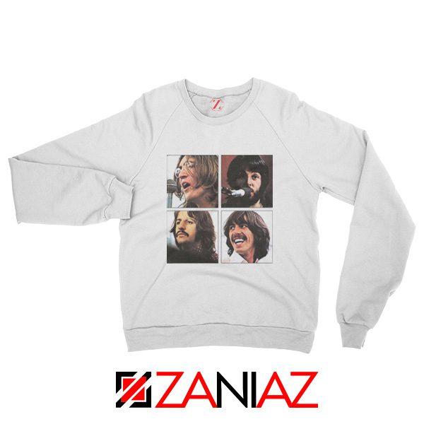 The Beatles Face Sweatshirt Rock Band Music Sweatshirt Size S-2XL White