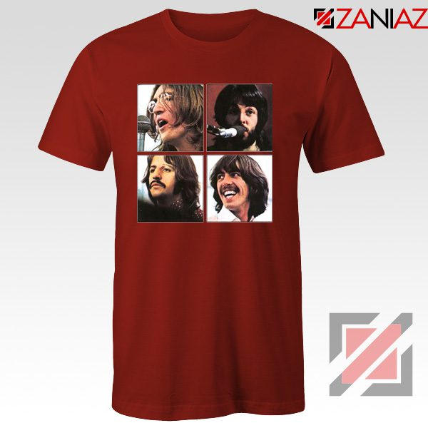 The Beatles Face T-Shirt Rock Band Music T-Shirt Size S-3XL Red