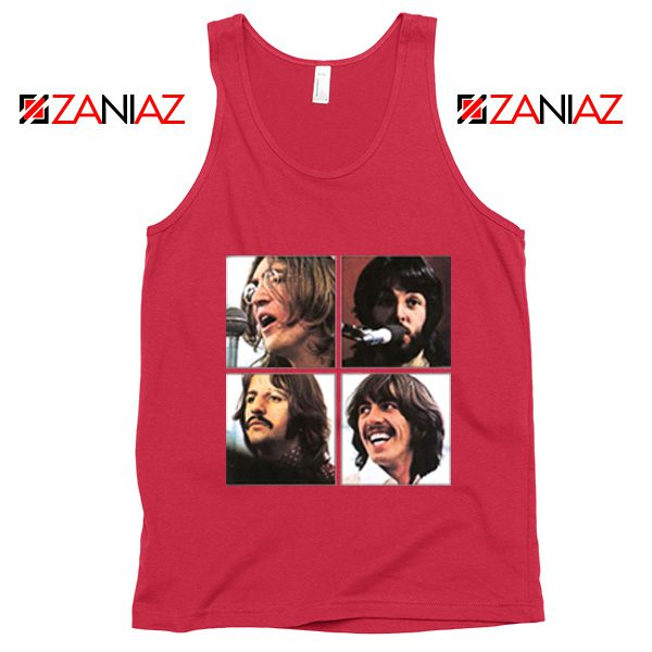 The Beatles Face Tank Top Rock Band Music Tank Top Size S-3XL Red