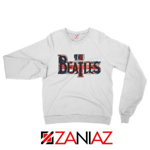 The Beatles Logo Sweatshirt The Beatles Rock Band Sweatshirt White