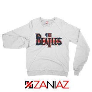 The Beatles Logo Sweatshirt The Beatles Rock Band Sweatshirt White