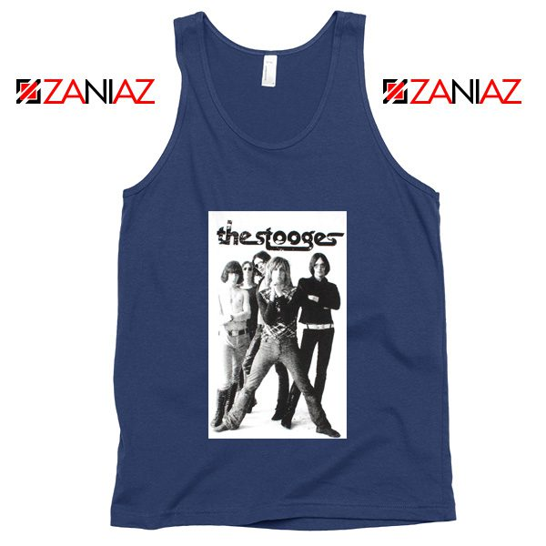 The Stooges Iggy Pop American Music Band Cheap Best Tank Top Navy Blue