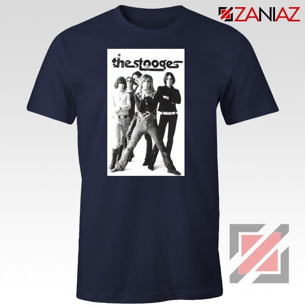 The Stooges Iggy Pop American Music Band Cheap Best Tee Shirt Navy Blue