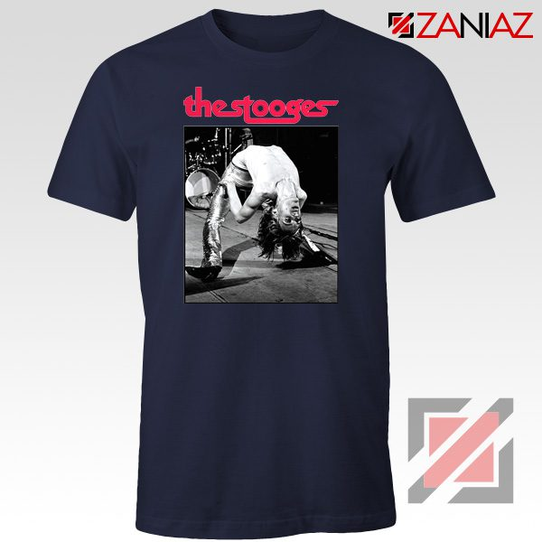 The Stooges Performing Men T-shirt American Music Concert Tee Shirt Navy Blue
