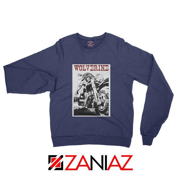 Wolverine Biker Sweatshirt Marvel X-Men Sweatshirt Size S-2XL Navy