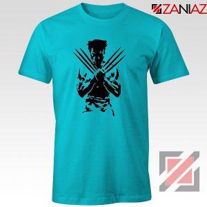 Wolverine T-shirts Marvel Comics Men's Tee Shirt Size S-3XL Light Blue