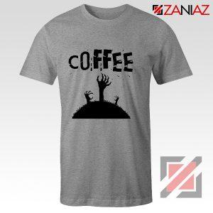 Zombie Coffee Tee Shirt Walking Dead Best T-Shirt Size S-3XL Sport Grey