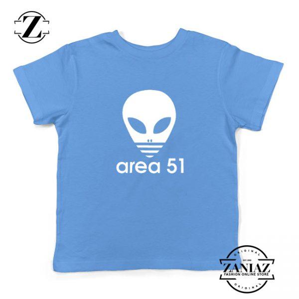 Area 51 Alien Funny Adidas Logo Parody Kids T-Shirt Light Blue