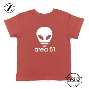 Area 51 Alien Funny Adidas Logo Parody Kids T-Shirt Red