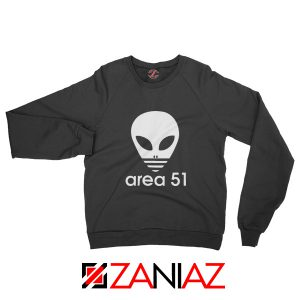 Area 51 Alien Sweatshirt 3 Stripe Adidas Logo Parody Sweatshirt Black