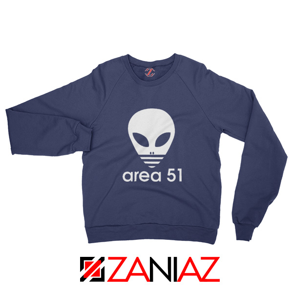 Area 51 Alien Sweatshirt 3 Stripe Adidas Logo Parody Sweatshirt Navy Blue