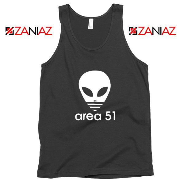 Area 51 Alien Tank Top 3 Stripe Adidas Logo Parody Tank Top Black