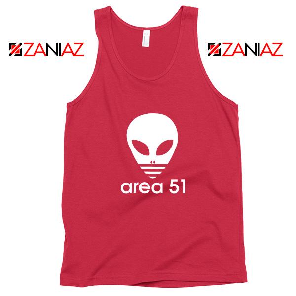 Area 51 Alien Tank Top 3 Stripe Adidas Logo Parody Tank Top Red