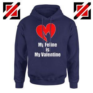 Best Cat valentine Hoodie Valentine Gift for Women Hoodie Size S-2XL Navy Blue
