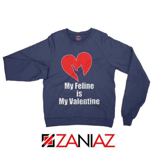 Best Cat valentine Sweatshirt Valentine Gift for Women Sweatshirt Navy Blue