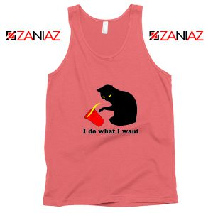 Black Cat Red Cup Funny Tank Top Do What I Want Tank Top Coral