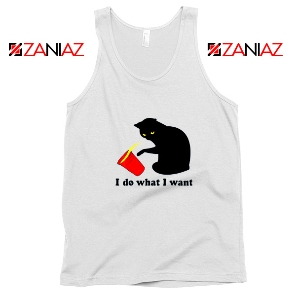 Black Cat Red Cup Funny Tank Top Do What I Want Tank Top White