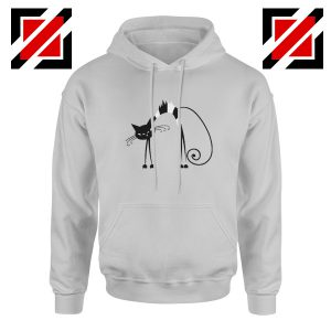 Black Line Cat Gift Hoodie Animal Lover Women Hoodie Size S-2XL Sport Grey