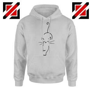 Black Line Cat Hoodie Animal Lover Women Hoodie Size S-2XL Sport Grey