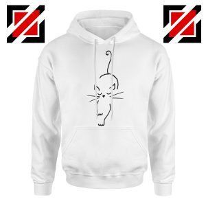 Black Line Cat Hoodie Animal Lover Women Hoodie Size S-2XL White