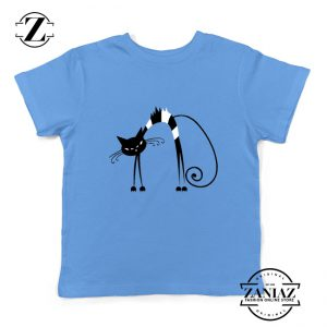 Black Line Cat Kids Tee Shirt Animal Lover Youth T Shirt Size S-XL Light Blue
