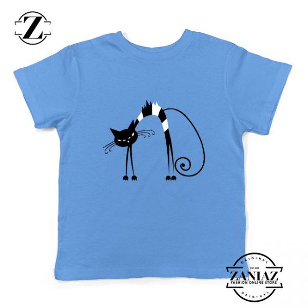 Black Line Cat Kids Tee Shirt Animal Lover Youth T Shirt Size S-XL Light Blue