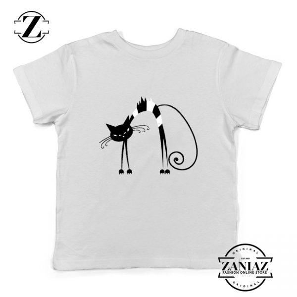 Black Line Cat Kids Tee Shirt Animal Lover Youth T Shirt Size S-XL White