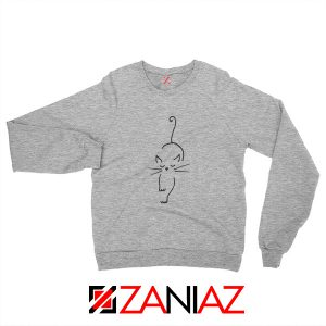 Black Line Cat Sweatshirt Animal Lover Women Sweatshirt Size S-2XL Sport Grey
