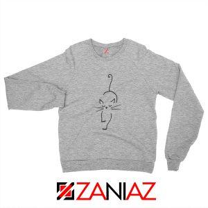 Black Line Cat Sweatshirt Animal Lover Women Sweatshirt Size S-2XL Sport Grey