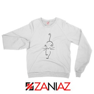 Black Line Cat Sweatshirt Animal Lover Women Sweatshirt Size S-2XL White
