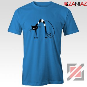 Black Line Cat T-Shirt Animal Lover Tee Shirt Size S-3XL Blue
