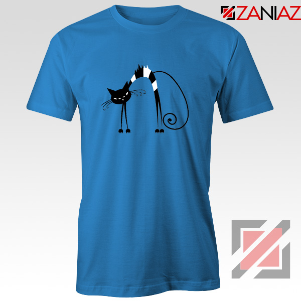 Black Line Cat T-Shirt Animal Lover Tee Shirt Size S-3XL Blue