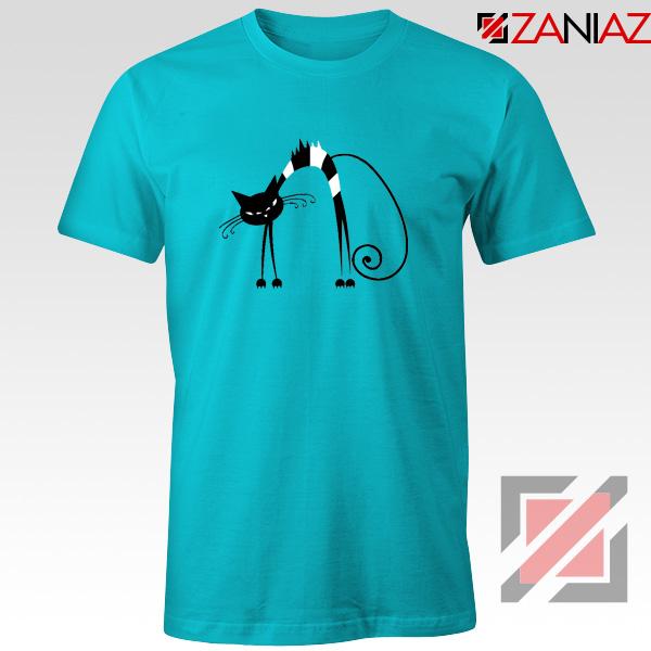 Black Line Cat T-Shirt Animal Lover Tee Shirt Size S-3XL Light Blue