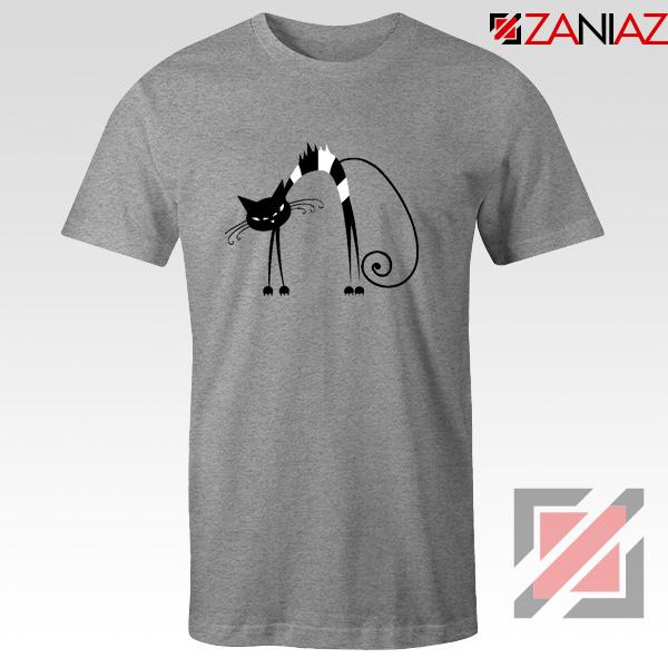Black Line Cat T-Shirt Animal Lover Tee Shirt Size S-3XL Sport Grey