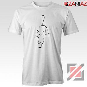 Black Line Cat T-Shirt Animal Lover Women Tee Shirt Size S-3XL White