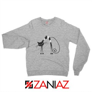 Black Line Cat Women Sweatshirt Animal Lover Sweatshirt Size S-2XL Sport Grey