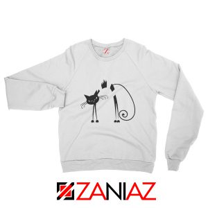 Black Line Cat Women Sweatshirt Animal Lover Sweatshirt Size S-2XL White