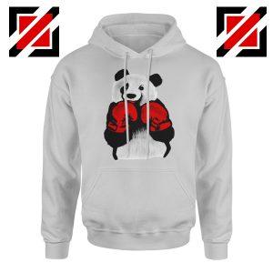 Boxing Panda Bear Hoodie Funny Animal Best Hoodie Size S-2XL Sport Grey