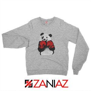 Boxing Panda Bear Sweatshirt Funny Animal Sweatshirt Size S-2XL Sport Grey