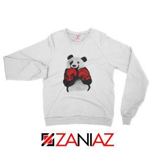 Boxing Panda Bear Sweatshirt Funny Animal Sweatshirt Size S-2XL White