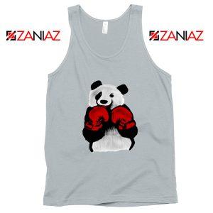 Boxing Panda Bear Tank Top Funny Animal Tank Top Size S-3XL Silver