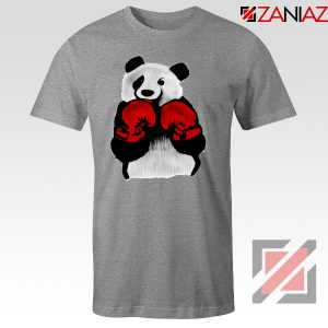 Boxing Panda Bear Tee Shirt Funny Animal T-Shirt Size S-3XL Sport Grey
