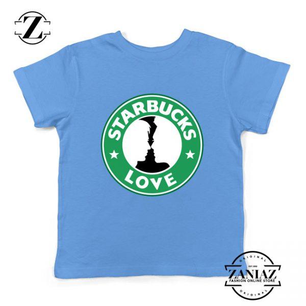 Buy Cheap Love Starbucks Parody Gifts Kids Tee Shirt Light Blue