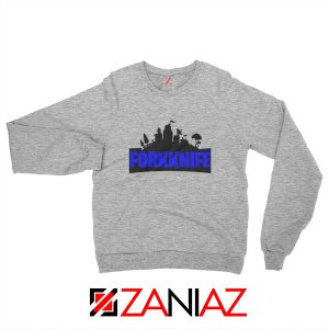 Buy Fork Knife Sweatshirt Fortnite Parody Sweatshirt Size S-2XL Sport Grey