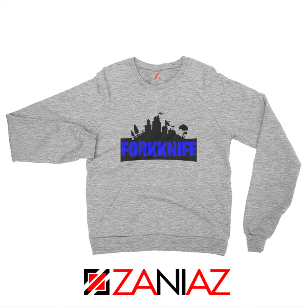 Buy Fork Knife Sweatshirt Fortnite Parody Sweatshirt Size S-2XL Sport Grey