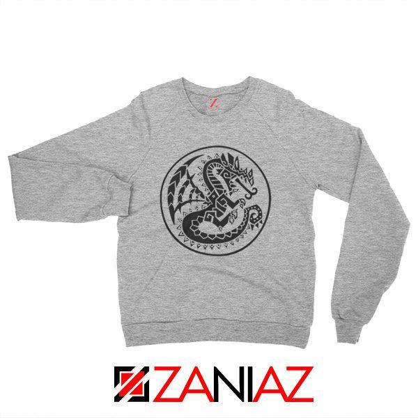 Buy Monster Hunter Logo Sweatshirt Designs Video Games Sweatshirt Sport Grey