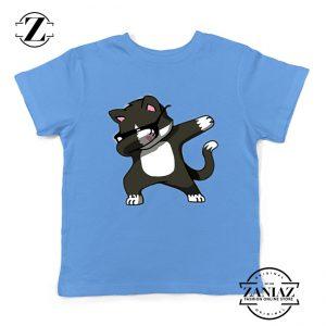 Cartoon Cat Style Youth Tshirt Cat Lover Kids Shirt Size S-XL Light Blue