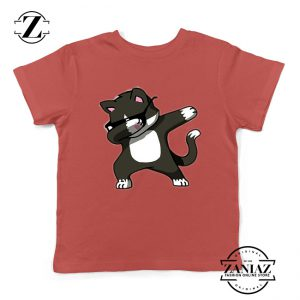 Cartoon Cat Style Youth Tshirt Cat Lover Kids Shirt Size S-XL Red